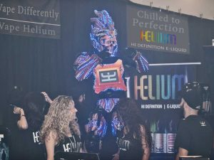 Helium, e-liquid, ejuice, chilled e-liquid, chilled ejuice, vapehelium, tradeshow, miami, robot, vape,